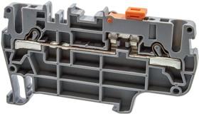 PYK2,5A (серый), Клеммник пруж. быстрозажимной (Push in) 2,5 мм.кв., с размыкателем