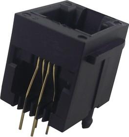90512-003LF, Модульный разъем, Cat3, Modular Jack, 1 x 1 (Port), 6P4C, Cat3, Монтаж в Сквозное Отверстие