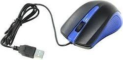 Мышь OKLICK 225M оптическая проводная USB, черный и синий [mo-353]