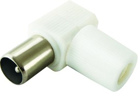 SQ1809-0010, Разъем TV штекер без пайки угловой белый