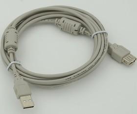 Кабель-удлинитель USB2.0 USB A (m) - USB A (f) ферритовый фильтр 3м