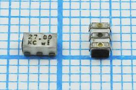 Керамические резонаторы 27МГц, SMD 3.2x2.1мм с тремя контактами, пкер 27000 \C03221C3\\5000\3000/- 20~80C\SSR27,00BR-C15B