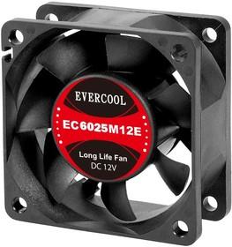 EC6025M12SP, Вентилятор 12В, 60х60х25мм, подш. скольжения, 4500 об/мин, кабель 3-- 4pin (PWM)