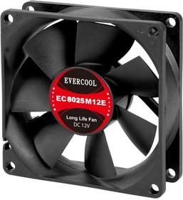 EC8025M12SP, Вентилятор 12В, подш. скольжения, 80х80х25мм, 2500об/мин., кабель 3-- 4pin (PWM)