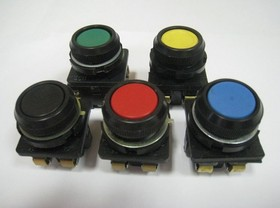 Фото 1/2 КЕ0112 (кр.), Выключатель кнопочный красный без фиксации ON-(OFF)/OFF-(ON) 10A/660VAC