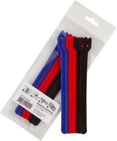 Фото 1/4 PL9602, Хомут-липучка (стяжка) 150мм х 12мм, 9 шт / 3 цвета (черный, синий, красный)