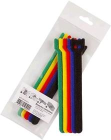 Фото 1/4 PL9600, Хомут-липучка (стяжка) 150мм х 12мм, 5 шт / 5 цветов (черный, синий, красный, желтый, зеленый)