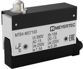 MTB4-MS7103, Выключатель концевой, 10A, IP54, плунжер укороченный
