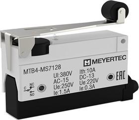 MTB4-MS7128, Выключатель концевой, 10A, IP54, рычаг с роликом, укороченный