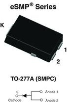 SS10PH45-M3/86A, Diode Schottky 45V 10A 3-Pin(2+Tab) SMPC T/R