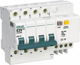 Выключатель автоматический дифференциального тока 4п C 25А 30мА тип AC 4.5кА ДИФ-101 6.5мод DeKraft 15022DEK