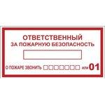 an-4-05, Наклейка Ответственный за пожарную безопасность B03 (100х200мм) PROxima