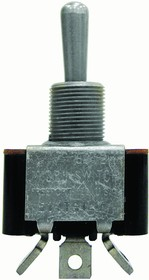 11TS95-1, Switch Toggle ON OFF ON SPDT Round Lever Quick Conn 20A 277VAC 559.27VA Panel Mount with Threads