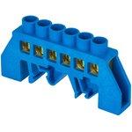 Шина нулевая N 6х9 6 отвер. латунь син. нейлоновый корпус комбинированный PROxima EKF sn0-63-06-dn