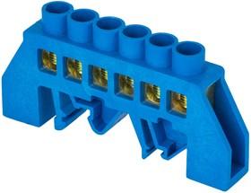 Фото 1/2 Шина нулевая N 6х9 6 отвер. латунь син. нейлоновый корпус комбинированный PROxima EKF sn0-63-06-dn