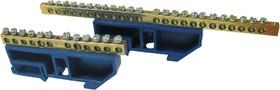 """Шина """"0"""" N (6x9мм) 20 отв. никель синий изолятор на DIN-рейку EKF PROxima"""