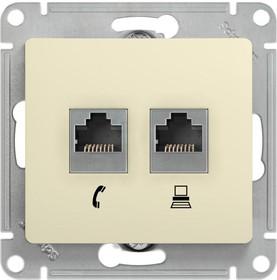 Механизм розетки комп. + телеф. 2-м СП Glossa RJ11 + RJ45 беж. SchE GSL000285