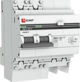 Выключатель авт. диф. тока 2п 4мод. C 40А 30мА тип AC 4.5кА АД-2 PROxima EKF DA2-40-30-pro