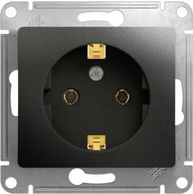 Фото 1/3 Механизм розетки 1-м СП 1мод. Glossa 16А IP20 с заземл. антрацит SchE GSL000743