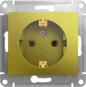 Фото 1/3 Механизм розетки 1-м СП Glossa 16А IP20 250В с заземл. фисташк. SchE GSL001043
