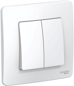BLANCA скрытой установки двухклавишный выключатель (cх.5), 10A, 250B, белый