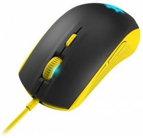 Мышь STEELSERIES Rival 100 Proton оптическая проводная USB, желтый и черный [62340]