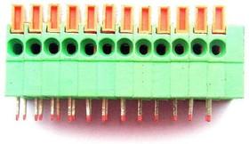 Фото 1/2 DG141R-12P (2.54mm), Клеммник нажимной угловой на плату 12 pin