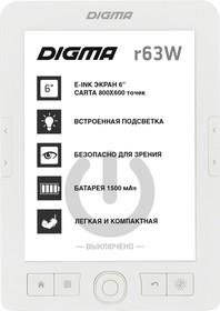 """Фото 1/7 Электронная книга Digma R63W 6"""" E-Ink Carta 800x600 600MHz/4Gb/ microSDHC/подсветка дисплея белый"""