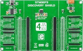 Фото 1/5 MIKROE-1447, STM32F3 Discovery Shield, Плата расширения для STM32F3DISCOVERY