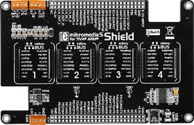Фото 1/6 MIKROE-1529, mikromedia 5 for Tiva Shield, Плата раширения для mikromedia 5 for Tiva c 4 разъемами mikroBUS, CAN интерфейсом