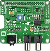 Фото 1/6 MIKROE-1767, RaspyPlay4, Hi-Fi звуковая карта для Raspberry Pi Model B+ / Pi 2