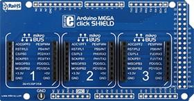 Фото 1/5 MIKROE-1900, Arduino Mega click shield, Плата расширения для подключения модулей mikroElektronika серии click (mikroBUS) к Arduino Mega