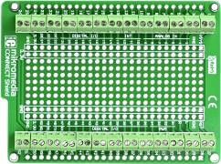 Фото 1/5 MIKROE-938, mikromedia connect shield, Плата раширения для mikromedia bord с макетной областью и клеммными колодками