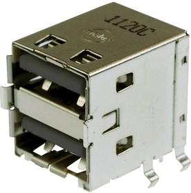 Фото 1/2 67298-3090, Составной USB разъем, USB Типа A, USB 2.0, 4 вывод(-ов), Прямой Угол, Фосфористая Бронза