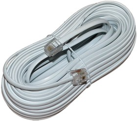 PL1208, Удлинитель телефонный 10м, белый