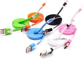 PL1358 (PL1359,PL1360, PL1361,PL1362, PL1363,PL1364,PL1365), Кабель USB-Lightning плоский для Apple Iphone 5, 6s,7 8 pin, цветной, 1м