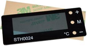Лицевая панель для STH0024, Панель черная 74 х 29 мм, матовое внутреннее окно 49 х 17 мм, скотч 3M
