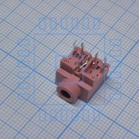 TRS 3.5 (mini jack) PJ317 роз., Стерео гнездо на плату, розовый