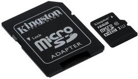 Фото 1/2 Карта памяти microSDHC UHS-I KINGSTON 16 ГБ, 45 МБ/с, Class 10, SDC10G2/16GB, 1 шт., переходник SD