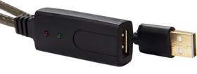 GCR-UEC3M2-BD2S-5.0m, GCR Удлинитель 5.0m USB 2.0, AM/AF, GOLD, черно-прозрачный, с активным усилителем сигнала, 28/24 AWG
