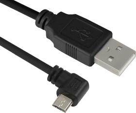 GCR-UA4MCB1-BB2S-0.5m, GCR Кабель micro USB 2.0 0.5m угловой, черный, 28/28 AWG, AM / microB 5pin, экран, армированный, мо