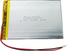 LP4070100-PCM, Аккумулятор литий-полимерный (Li-Pol) 3200(3100)мАч 3.7В, с защитой, PoliCell