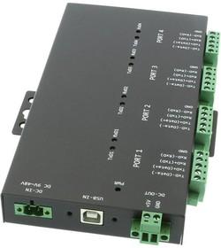 USB2-4COMi-Si-TB, 4-портовый преобразователь USB в RS-232/422/485 в мет. корпусе, крепление на DIN-рейку