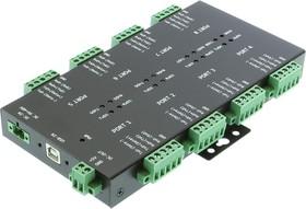 USB-8COMi-TB, 8-портовый преобразователь USB в RS-422/422/485 в мет. корпусе, 8х клеммные колодки