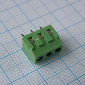 Фото 1/2 DG381-3.81-03P-14-00AH, Клеммник 3 конт. шаг 3.81 мм модульный, вертик. на плату, H = 8.6 мм, микролифт (пров. 26-16AWG/ до