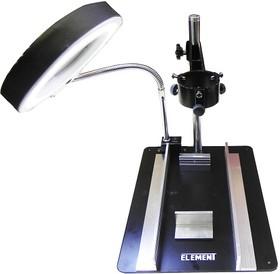 Фото 1/2 ELEMENT 628TD-III (628А-I I I-А), Рабочий стол с держателем фена и платы, лупа с подсветкой