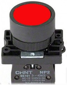 NP2-EA45, Кнопка без фиксации красная ON-(OFF)/OFF-(ON) пласт.