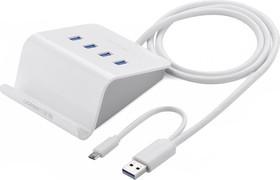 Фото 1/3 UG-20280, Хаб 0.8m USB 3.0 на 4 порта с функцией OTG + доп.питание, UGreen с подставкой, белый