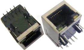 KLS12-TL051-1x1-G/Y-1-03 (SK02-111006NL), Розетка 8P8C (RJ45) со светодиодами и трансформатором