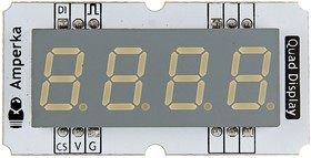 Фото 1/2 Troyka-Quad Display V2 Red, Четырёхразрядный индикатор для Arduino проектов